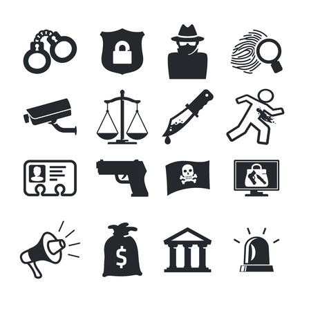 hijack: Crimes icons set. Simple design Illustration