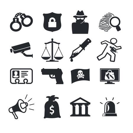 handcuffs: Crimes icons set. Simple design Illustration