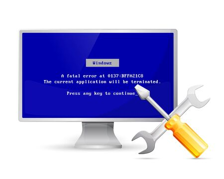 fullhd: Vector computer display with error message and repair icon Illustration