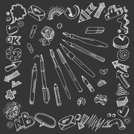 Hand-drawn writing tools. Freehand drawings - symbols, words and arrows. Vector