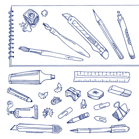 sharpener: Writing tools - handdrawn set, outline objects