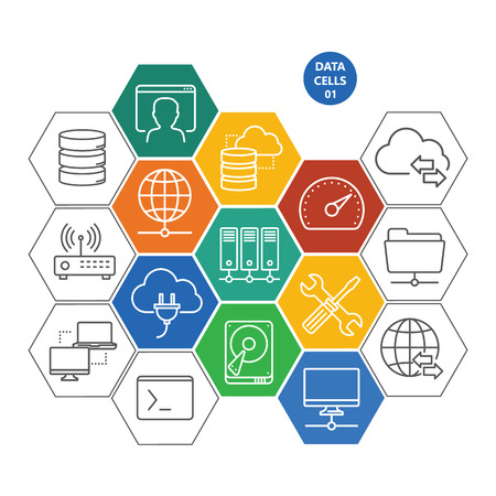 cloud hosting: Data cells with icons - computers and network Illustration