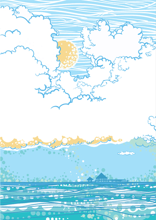 seascape: Seascape with clouds Illustration