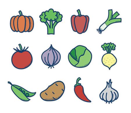 green peas: Set of vector vegetables