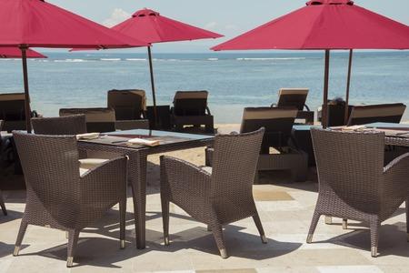 Ourdoor luxury restaurant on the beach Stock Photo