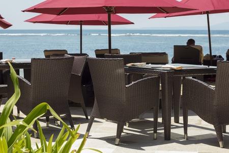ourdoor: Ourdoor luxury restaurant on the beach Stock Photo