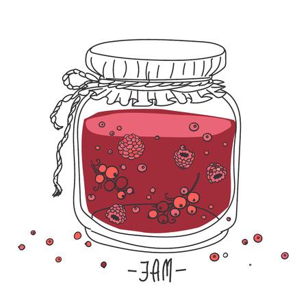 jam jar: cartoon jam jar - hand drawing Illustration