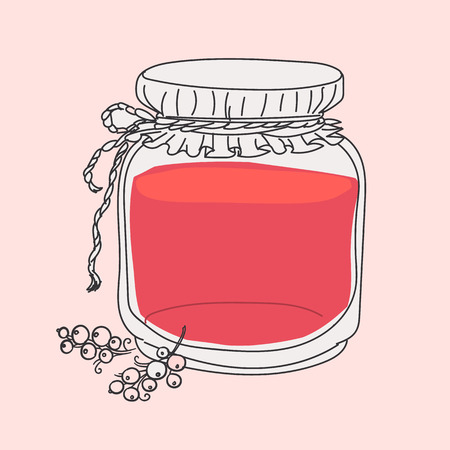 hand jam: cartoon jam jar - hand drawing Illustration