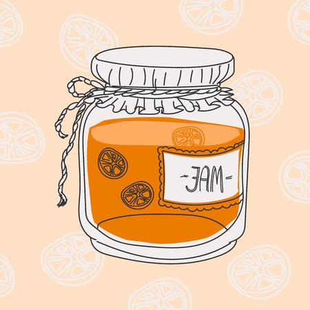 hand jam: cartoon jam jar - hand drawing Illustration