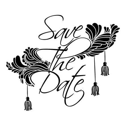 Sign Save The Date. Lettering with feathers and tassels luxury style.