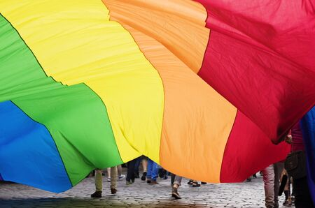 latvia girls: Under the big rainbow flag Stock Photo