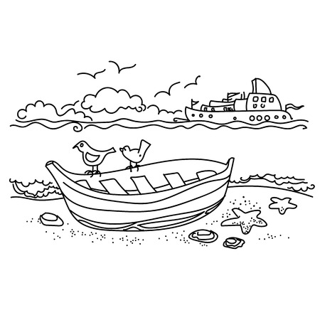 Sailing boat on coast free hand drawing, outline Illustration