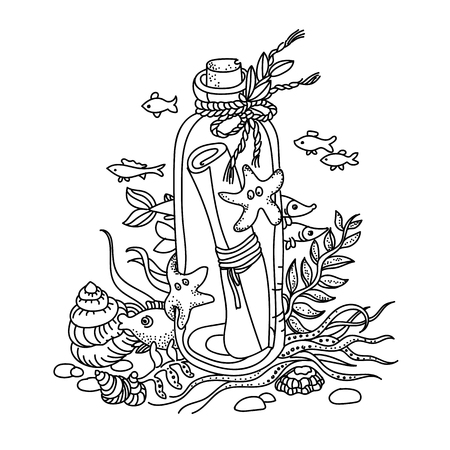 hand drawn cartoon: Sketchy illustration of a message in a bottle Illustration