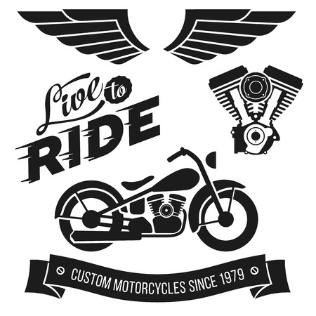 motor sport: Vintage motorcycle design elements collection. Lettering Live To Ride