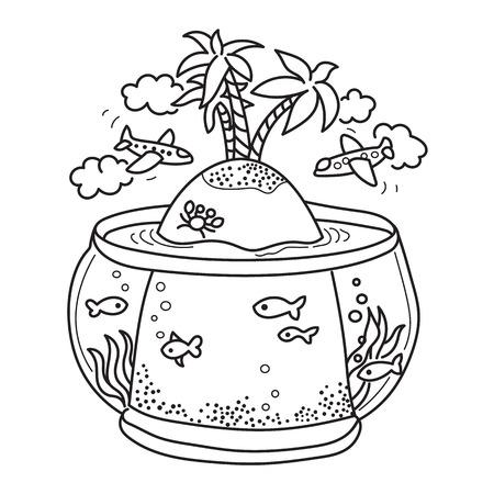 dessin au trait: Dessin à main levée - île paradisiaque dans le réservoir de poissons, des avions volant - concept de rêve sur les vacances. Dessin d'bon pour des livres de coloriage