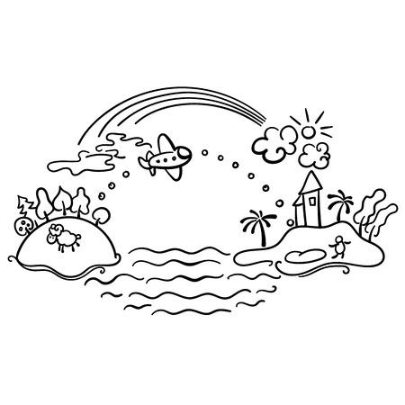 arcoiris caricatura: Dibujo a mano alzada - vuelo de la historieta de avión desde la isla urbana de la isla tropical, con el arco iris de vacaciones bandera y avión con la bandera feliz viaje.