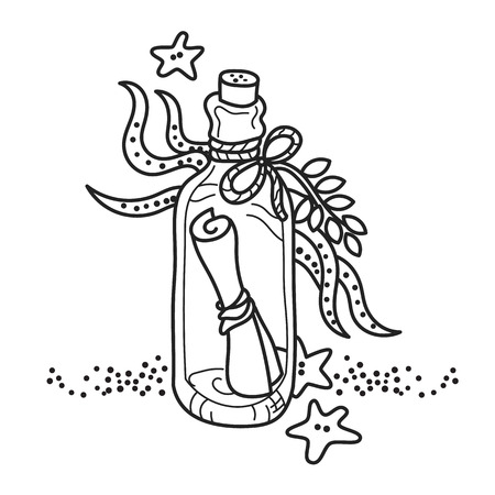 glass water: Message in a bottle on sea bottom. Free hand drawing. Good for coloring books Illustration