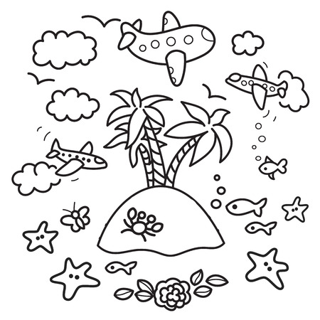 Freehand drawing - paradise island in fish tank, flying airplanes - concept of dream about vacations. Outline drawing good for coloring books Ilustração