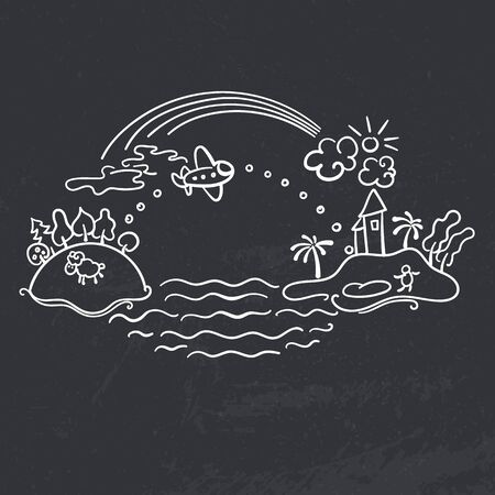 drawing board: Freehand drawing - cartoon flight of airplane from urban island to tropical island, rainbow with banner Vacation and plane with flag Happy Travel. Vector chalk drawing on black board