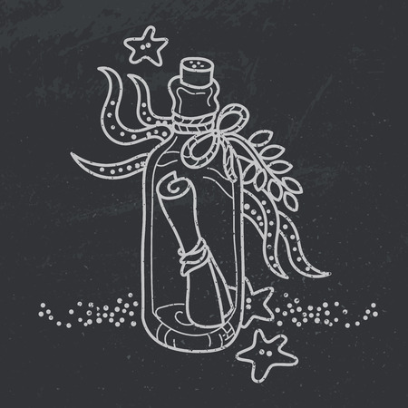 drawing board: Message in a bottle on sea bottom. Free hand vector drawing on black board