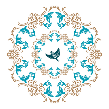 classicism: Vector gold and blue floral ornament with flying birds for decorative plate Illustration