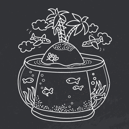 freehand: Freehand drawing - paradise island in fish tank, flying airplanes - concept of dream about vacations. Outline drawing on black board
