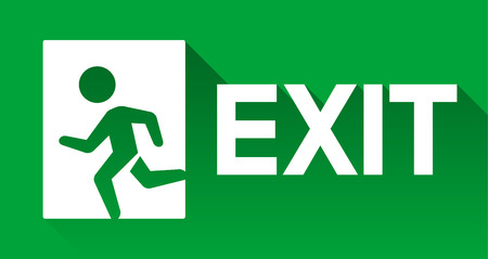emergency exit: Green emergency exit sign, direction to left, flat long shadow icon Illustration