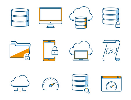 data backup: Computer and Network Icons Set Illustration