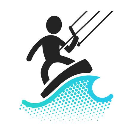 boarding: Kite boarding icon pictograms symbol