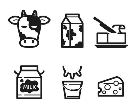carton de leche: Iconos lácteos establecidos, pictogramas planas