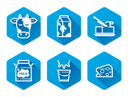 dairy products: Dairy products icons set, flat pictograms, blue