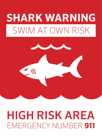 beach closed: Shark area warning sign red. Swim at your own risk Illustration