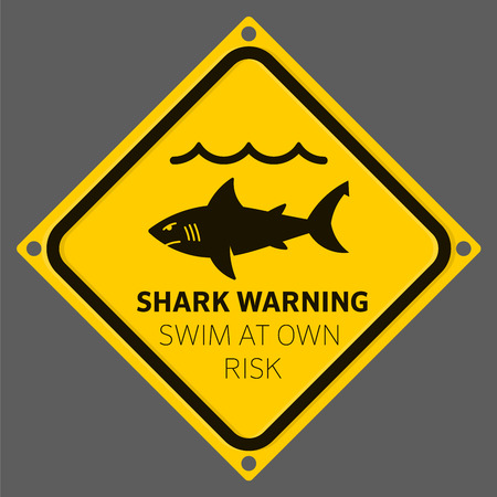 Shark area warning sign yellow. Swim at your own risk