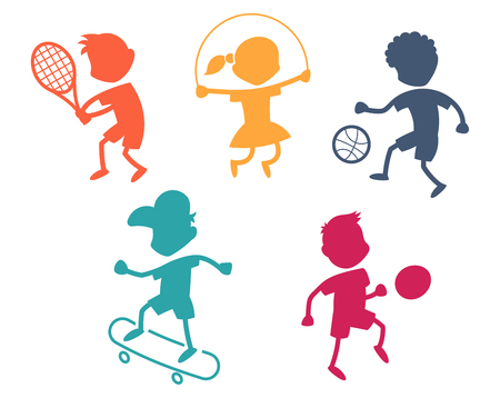 Cartoon sport icons - playing kids silhouettes - color
