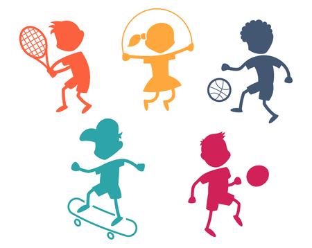 futbol soccer dibujos: Iconos del deporte de la historieta - jugando siluetas de niños - de color