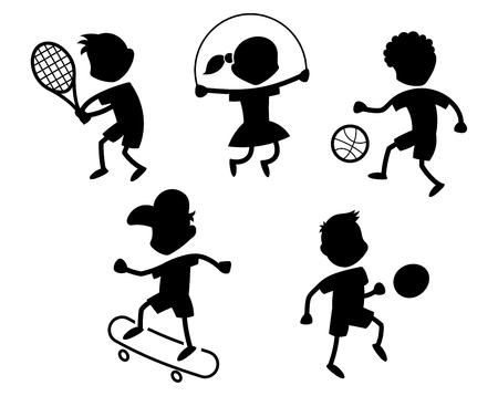 Cartoon sport icons - playing kids silhouettes - black Illustration