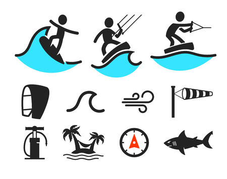 wind surfing: Summer water sport pictograms. Black people silhouettes and additional elements Illustration