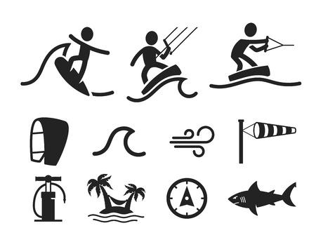 Zomer water sport pictogrammen. Zwarte mensen silhouetten en aanvullende elementen