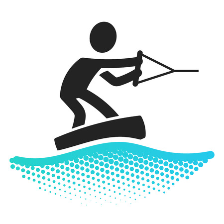 wakeboarding: Wake boarding icon pictograms symbol