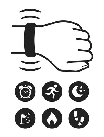 Fitness tracker wearable technology infographics with set of icons for fitness tracker Çizim