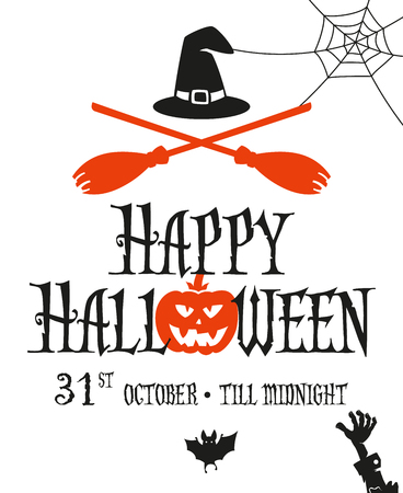 Halloween card invitation. Simple and minimal design. Two crossed broomsticks and withes hat. 向量圖像