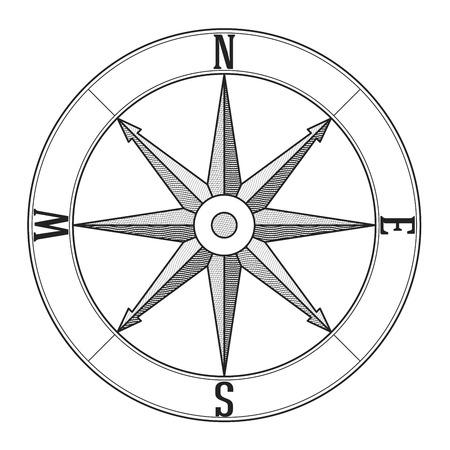rosa de los vientos: Grabado viento símbolo levantó. Negro sobre blanco