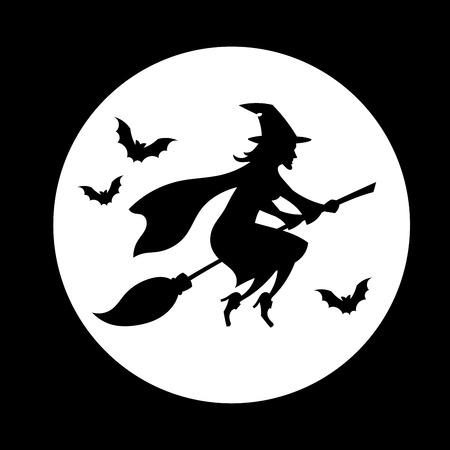 escoba: Bruja volando sobre la luna, símbolo de Halloween. Vectores
