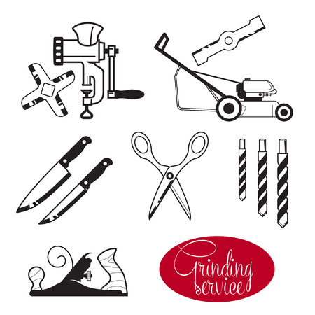 mincer: Grinding and sharpening. Sharp hand tools and gear