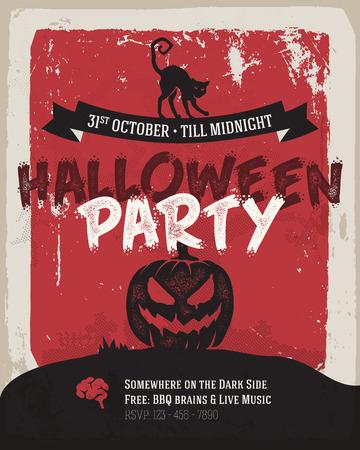 Halloween party poster. Simply flat design, dark creepy mood. Illustration