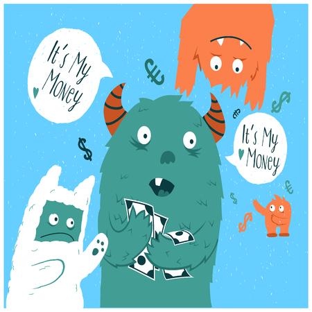 Cartoon cute monsters. Greedy monster Illustration