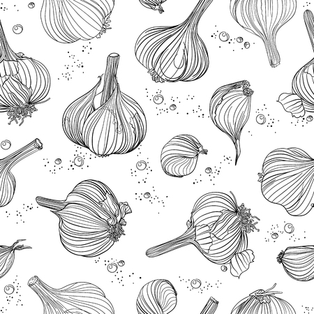 Seamless pattern - garlic with salt and pepper, outline objects on white. Freehand drawing.
