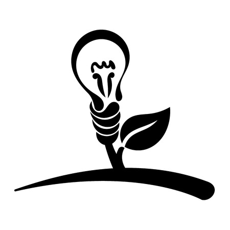 energy symbol: Abstract light bulb, vector logo, symbol of green energy