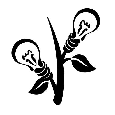 energia electrica: Bombilla abstracta, vector logo, símbolo de la energía verde