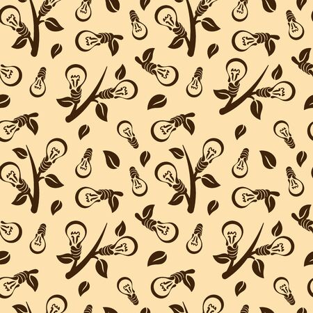 eco energy: Abstract seamless pattern of light bulb with leaves. Energy saving or eco friendly concept design